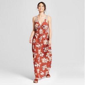 Rust Floral Maxi Dress 🧡🌸